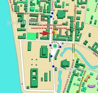 Фрагмент карты г. Томск с указанием расположения военного суда.  Томский гарнизонный военный суд.
